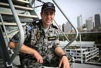 Midshipman Liam Humphrey onboard HMAS Choules as part of the Navy's New Entry Officer Course sea training deployment.