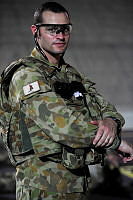 Australian Army Captain James Georgiadis is in charge of ensuring the final preparations are completed for personnel deploying to Operation Slipper after they arrive at Camp Baird, UAE.