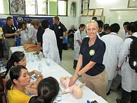 Royal Australian Navy nurse LEUT Rebekah Tomlinson is one of 100 Australian, US and Japanese medical experts involved in a diverse range of subject matter exchanges with Vietnamese health practitioners at hospitals in Viet Nam's Da Nang city from May 23 to June 18 as part of Pacific Partnership 2014.