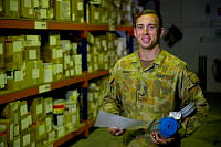 Royal Australian Air Force Leading Aircraftman Coen Henry, is a supplier working as a Logistics Support Storeman deployed to the United Arab Emirates on Operation Accordion.