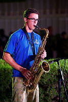 Musician Jason Mitchell from the Band of the 1st Battalion, the Royal Australian Regiment (1 RAR Band) plays tenor saxophone during the Forces Entertainment Tour to the Middle East.