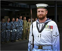 Royal Australian Navy member, Able Seaman Matthew Featherstone of Australia's Federation Guard (AFG) poses for his photograph at AFG.