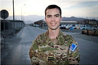 Squadron Leader Mitchell Clarke is seen at the Harmid Karzai International Airport military base in Kabul, Afghanistan.