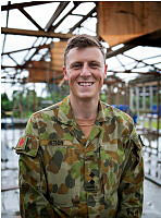 6 CSR, 17 Construction Squadron troop commander Lieutenant Matthew Jetson on site during construction of a school building in Bougainville as part of Pacific Partnership 2015.