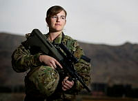 Royal Australian Navy officer Lieutenant April Betts prepares for her next job at Task Group Afghanistan Headquarters, Hamid Karzai International Airport, Kabul. Lieutenant April Betts is deployed to Operation HIGHROAD as the Staff Officer to Commander Task Group Afghanistan.