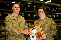 Australia Army soldiers Lance Corporal Patrick Brennan (left) and Private Georgia Gilbertson (right), are from the same home-town of Kingscliff, New South Wales,and are both deployed with the Force Support Element (FSE) in the Middle East region for Operation Accordion. FSE delivers supply, maintenance, transport, health, pay, postal and other support services required by troops to continue their missions during operations such as Operations Okra, Highroad and Manitou.