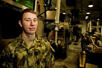 Australian Army soldier Craftsman Leigh Dayes, of the Force Support Element is a biomedical electronics technician at Australia's main logistics and support base in the Middle East region deployed on Operation Accordion.