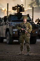 Australian Army soldier Private Brendan Winter from Task Group Taji 1 provides force protection at the Taji Military Complex, Iraq.