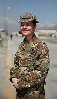 Royal Australian Air Force Corporal Meghean Shepherd works as an orderly room administration coordination clerk in Australia's Task Group Afghanistan head quarters at Hamid Karzai International Airport, Kabul.