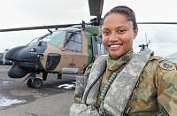 Australian Army soldier Corporal Betty Latumahina, a Taipan MRH-90 helicopter loadmaster from 5th Aviation Regiment, is currently flying aid missions in support of Operation Fiji Assist in Fiji following Tropical Cyclone Winston.