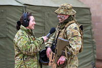 Australian Army officer Captain Sharon Mascall-Dare (left) interviews physiotherapist Captain Karmen Sampson for a podcast during Exercise Hamel in Cultana training area, South Australia, on 4 July 2016.