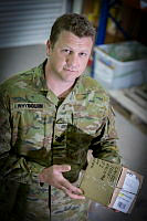 Australian Army soldier Sergeant Adam Whybourn conducts a stocktake during his deployment at Australia's main operating base in the Middle East region.