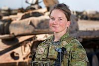 Australian Army officer Captain Isabelle Cowley from Task Group Taji 4 at Taji Military Complex, Iraq.