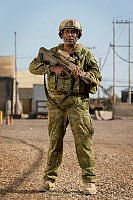 Australian Army officer Lieutenant Colonel Samsher Ali, from Task Group Taji 4, stands at the Taji Military Complex in Iraq.