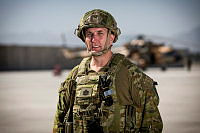 Train Advise Assist Command – Air Maintenance Advisor, Warrant Officer Class One Kent Herrmann on the flightline at Hamid Karzai International Airport, Kabul, Afghanistan.