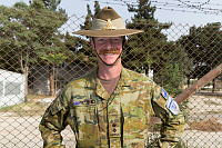 Chief of Staff Advisor, Australian Army Lieutenant Colonel Nicholas Wilson, at Kabul Garrison General Command in Kabul, Afghanistan.