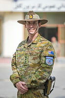 Command Advisor, Australian Army Colonel Mark Ascough, stands in front of the Kabul Garrison General Command in Kabul, Afghanistan.