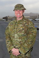 Australian Army Captain Samuel Mettam at Hamid Karzai International Airport on Operation Highroad in Kabul, Afghanistan.