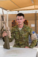 Royal Australian Air Force Leading Aircraftman Christopher Crouch-Tinning takes a break at Australia's main operating base in the Middle East region.