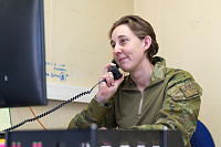 Australian Army Corporal Celine Parrey in her office at Camp Qargha near Kabul, Afghanistan.