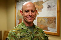Australian Army Major David Seers works in the Training Branch of NATO Special Operations Component Command – Afghanistan, at Bagram Airfield.