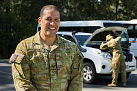 Australian Army Reserve soldier Lance Corporal Matysek from 11 Brigade during vehicle search training at Kokoda Barracks, which is preparing him to support the security of the 2018 Gold Coast Commonwealth Games.