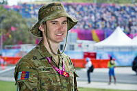 Australian Army Reserve soldier Private David Franz from the 9th Battalion, the Royal Queensland Regiment is working with the Queensland Police Service to provide security for 2018 Gold Coast Commonwealth Games.