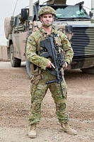 Australian Army corporal, Ryleigh Egan, Section Commander with the Task Group Taji – 6 Quick Response Force, provides force protection at Taji Military Complex, Iraq.