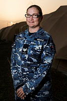 Sergeant Jennifer Sichter, who normally works in the orderly room at No. 38 Squadron in Townsville, is deployed on Operation Accordion with the Expeditionary Airbase Operations Unit (EAOU) to Australia's Air Task Group (ATG) operations base in the Middle East.