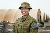 Lance Corporal Ashleigh Shannon, of the Force Support Element, is deployed on Operation Accordion in the Middle East as a postal clerk and cash operator at Australia's main air operations base in the Middle East region.