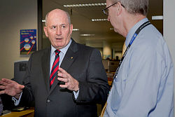 His Excellency General the Honourable Sir Peter Cosgrove, AK, MC (Retd), Governor-General of the Commonwealth of Australia visited Australian Public Service (APS) members at the Department of Defence, Russell Offices, Canberra.