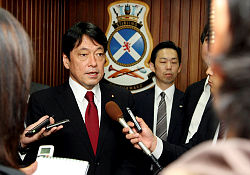 The Japanese Minister for Defence, Mr Itsunori Onodera holds a media interview at HMAS Stirling in between conducting briefs with the Australian Minister for Defence.