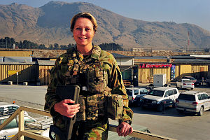 Australian Army Captain Kristen Lineham-Blair finishes at the Australian Headquarters at Kabul International Aiport – North (KAIA-N), Afghanistan.