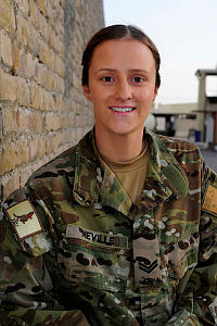 Corporal Hayley Neville, 24, is an Australian Army Postal Operator located at Camp Baker, Kandahar Air Field.