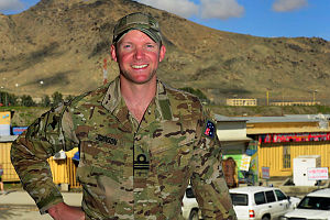 Lieutenant Commander Alwyn Johnson on deployment at the Headquarters 633-A in Kabul, Afghanistan.