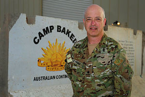 Major Geoff Traill, Force Support Unit-9 Chaplain at Camp Baker on Kandahar Air Field Afghanistan.