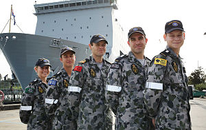 Navy Entry Officers Course members (from L) Midshipman Jacqui Rhodes, Midshipman Zachary Smith, Lieutenant Adam Bowman, Midshipman Matthew Newman and Midshipman Thomas Fathers in front of HMAS Choules, Fleet Base East, Sydney.