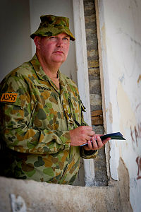 Australian soldier Sergeant Antony Buckingham is a Military Police Investigator serving with the Australian Defence Force Investigative Service (ADFIS) and seen here on duty during Exercise Pacific Partnership 2014 in Dili, East Timor.