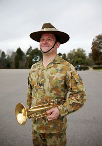 Australian Army Band Sydney musician Sergeant Cameron Earl with the trumpet he will play during the Australian Army Band's visit to the 2014 Basel International Tattoo, Switzerland, from July 14-26.