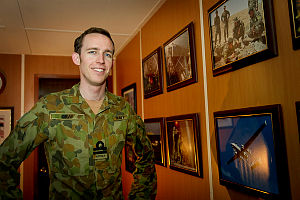 Lieutenant John Gray, a Royal Australian Navy submariner from Fremantle in Western Australia, has exchanged his steel working environment for a Middle East portable office complex.