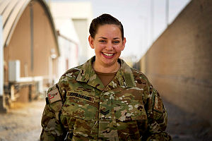 Australian Army Corporal Sarah Grahame looks after the administrative requirements of Australian Defence Force personnel at Kandahar Air Field, Afghanistan.
