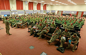 Members of the Five Power Defence Arrangement receive briefings for Ex Suman Warrior in the conference room at Linton Military Camp, near Palmerston North, NZ.