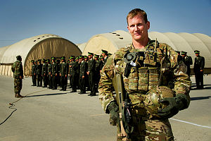 Australian Army Sergeant George Ling is the platoon sergeant for the Australian force protection element based at Camp Qargha, Kabul