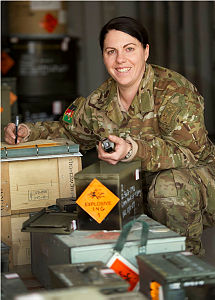 Australian Army Lance Corporal Natalie Hudson, Ammunition Supplier, takes stock of ammunition stores in Kabul, Afghanistan.