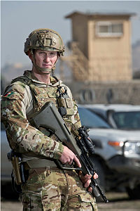 Australian Army soldier Corporal Ben Hibbert, a driver from the Headquarters Joint Task Force 636 Drive Team, is seen at Hamid Karzai International Airport during his deployment to Operation Highroad as part of the NATO-led Resolute Support mission in Afghanistan.