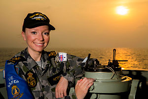 Royal Australian Navy sailor Petty Officer Electronics Technician Suzie Peterson is deployed aboard HMAS Melbourne, which is patrolling in the Middle East region as part of Operation Manitou.