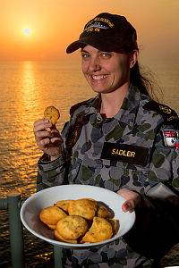 Royal Australian Navy sailor Leading Seaman (LS) Communication Information Systems April Sadler is deployed aboard HMAS Melbourne, which is patrolling in the Middle East region as part of Operation Manitou. LS Sadler's morale is high as she was only married in January, but it is her mother who makes sure Melbourne's crew get a taste of home with the freshly baked cookies she reguarly sends from home.