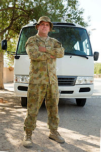 Australian Army soldier Private Joel Watt of the Force Support Element (FSE) plays a pivotal role as a soldier and a transport driver in the Middle East region by assisting with the movements of troops and equipment. FSE provides combat service support and in-theatre induction training for Australian Defence Force personnel in the Middle East region under Operation Accordion.