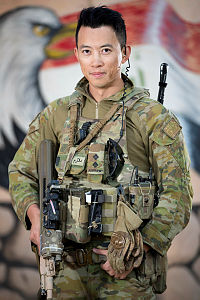 Australian Army officer Lieutenant Yikang Feng on task at the Taji Military Complex, Iraq. A company of infantryman provide force protection, commonly referred to as Guardian Angels, in order to insure training can be safely conducted.