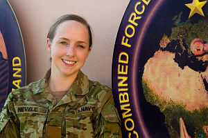 Royal Australian Navy sailor Leading Seaman (LS) Maritime Logistics - Personnel Operations Lisa Nevell is working with the Combined Maritime Forces (CMF) Maritime Operations Support Group (MOSG) based at the Naval Support Activity is Manama, Bahrain.